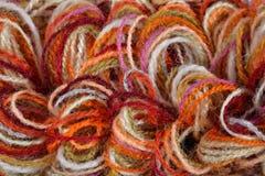 Closeup of a colorful yarns Royalty Free Stock Photos