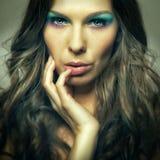 Closeup colorfull makeup girl. Closeup colorfull makeup beautiful girl portrait Stock Photo