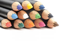 Closeup of coloring pencils. Stock Images