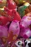 Closeup of colourful animal balloons royalty free stock photos