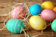 Closeup of colourful Easter eggs Royalty Free Stock Photos
