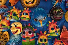 Closeup of colourful indigenous masks in Otavalo Ecuador Royalty Free Stock Images