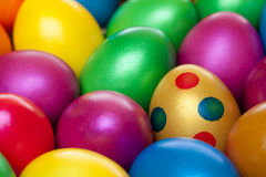 Closeup of colourful painted Easter eggs Stock Images