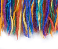 Closeup of colourful pieces of yarn. Isolated on white Stock Photo