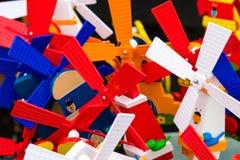 Closeup on colourful windmill toys Stock Photos