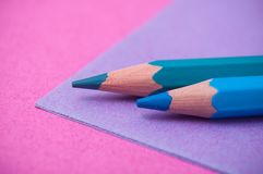 Colouring pencils on color background stock photo