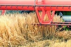 Closeup Combine harvesting a wheat field. Combine working. The field Stock Photo