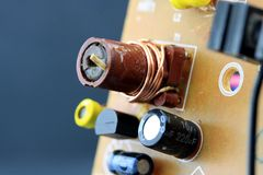 Closeup of the component side of a circuit board. Stock Photography