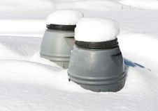 Closeup of Compostors in the Snow Royalty Free Stock Image