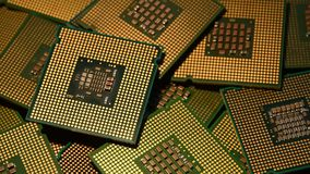 Closeup of Computer Chip Processors rotating on dolly. 4K UHD Video. Closeup of Computer Chip Processors rotating on dolly. 4K UHD Video Nikon D500 stock video footage