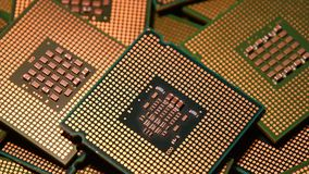 Closeup of Computer Chip Processors rotating on dolly. 4K UHD Video. Closeup of Computer Chip Processors rotating on dolly. 4K UHD Video Nikon D500 stock footage