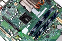 Closeup computer motherboard circuits memory microprocessor stock photography