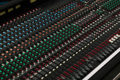 Closeup of a concert sound control board. Stock Images