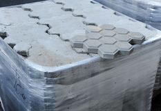 Closeup of concrete tiles floor for the renovation of city sidewalks Stock Images