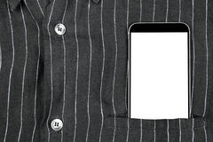 Closeup confident business man wearing elegant suit and mobile phone, smartphone with white screen and empty space at pocket Royalty Free Stock Image
