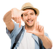 Closeup of confident happy man framing photograph white backgrou Royalty Free Stock Images