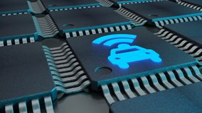 Closeup of connected CPUs with a glowing car and wifi symbol Stock Photos
