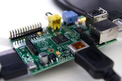 Closeup of a connected Raspberry Pi electronic board stock images