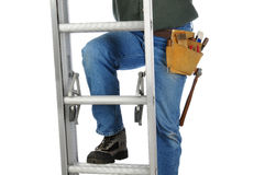 Construction Worker on Ladder Stock Photo