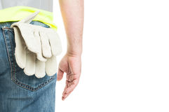 Closeup of construction worker with vest and gloves Stock Photography