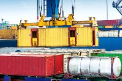 Closeup in a container terminal in the port of Rotterdam Royalty Free Stock Images