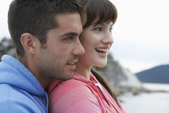 Closeup Of Content Couple At Beach Royalty Free Stock Photography