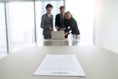 Closeup of a contract on office desk stock photography