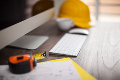 Closeup of a contractor's workspace Royalty Free Stock Photo