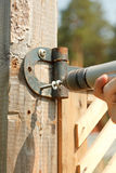 Closeup of contractors hands Stock Photo