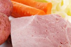 Closeup cooked ham shallow DOF Stock Photo