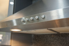 Closeup of cooker hood in kitchen Royalty Free Stock Image