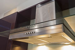 Closeup of cooker hood in kitchen Royalty Free Stock Images