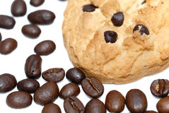 Closeup cookie and coffee beans isolated Stock Photos