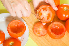 Closeup of cooking stuffed tomato Stock Photography