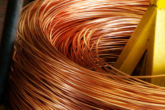 Closeup of Copper Cable being Rolled up Stock Photos