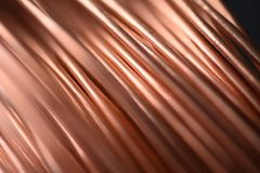 Closeup of Copper Coil Wiring with Focus on One Wire. Macro Stock Image