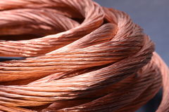 Closeup of copper wire, concept of industry development Royalty Free Stock Photos