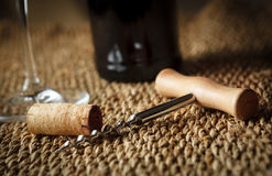 Closeup of corkscrew and cork Royalty Free Stock Photo