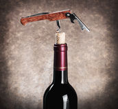 Closeup corkscrew in a wine bottle Royalty Free Stock Photos