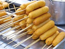 Closeup of corn dogs for sale Royalty Free Stock Image