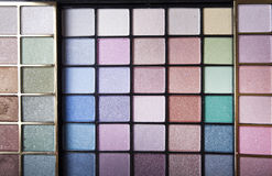 Closeup of cosmetics. Closeup shot of eyeshadow cosmetics stock images