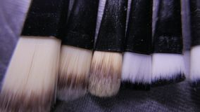 Closeup of cosmetics makeup brushes kit in motion. 4K UHD. Native video stock video
