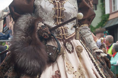 Closeup of Costumed woman at the Venetian Parade in Riquewihr in Alsace. RIQUEWIHR - France - 1 July 2017 - closeup of Costumed woman at the Venetian Parade in Stock Photos