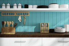 Closeup of counter and Kitchen Accessories Royalty Free Stock Photography