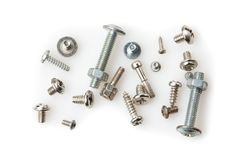 Couple of different size screws on pure white background Stock Photo