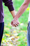 Closeup of couple holding hands while walking in nature Stock Photography