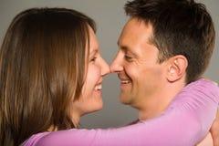 Closeup of a couple romacing Royalty Free Stock Photo