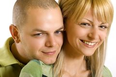 Closeup of a couple smiling Stock Image