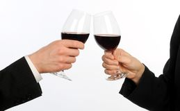 Closeup of couple toasting with wine Royalty Free Stock Photos