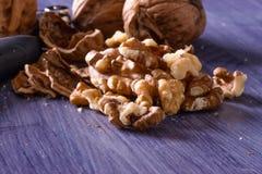 Closeup of cracked walnuts Royalty Free Stock Photos